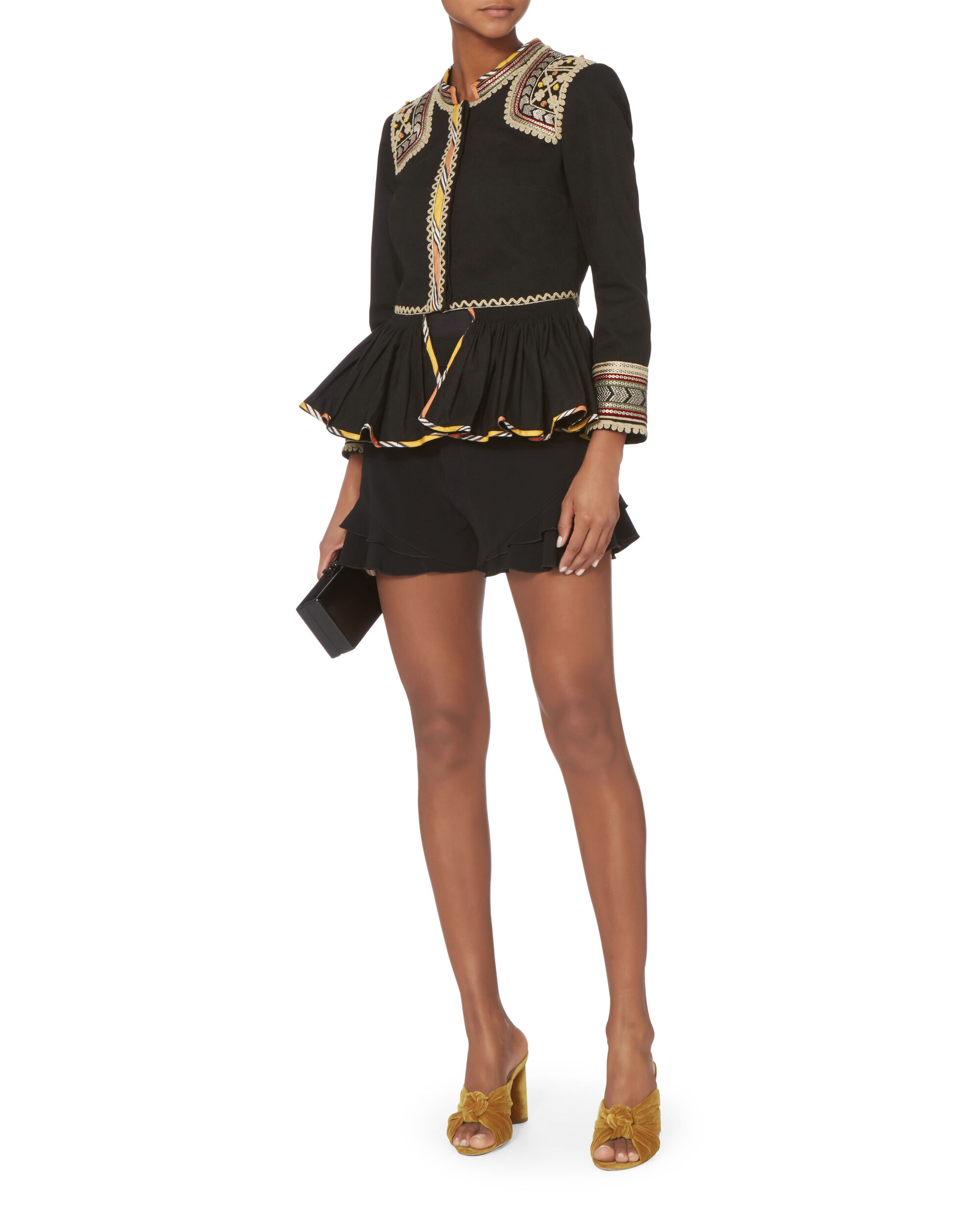 Tribal Embroidered Peplum Jacket, BLACK, hi-res