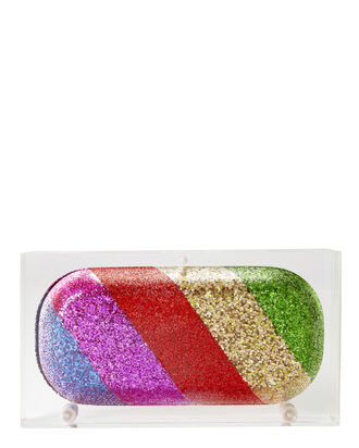 Glitter Rainbow Pill Acrylic Clutch, COLORBLOCK, hi-res