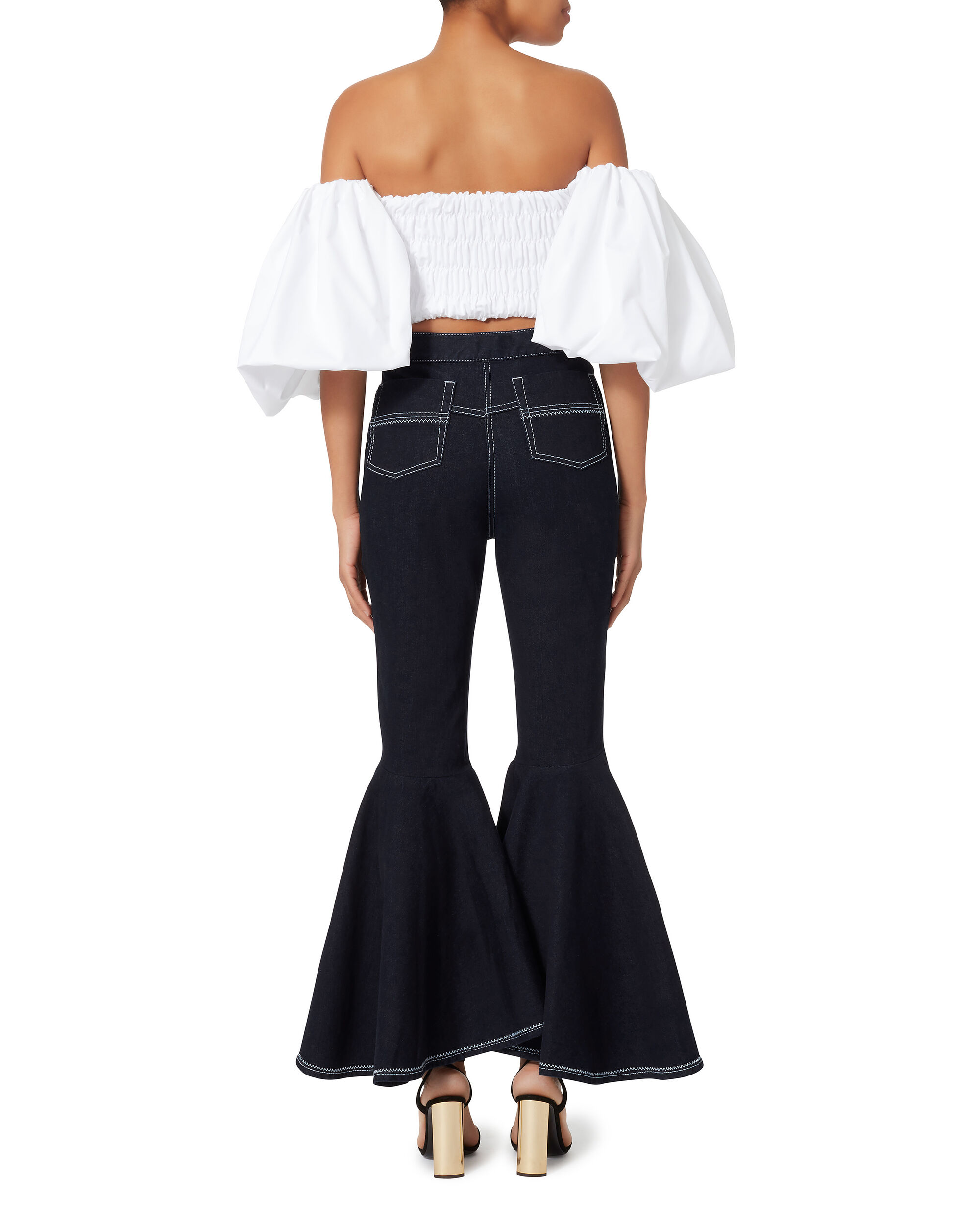 Ruffled Crop Flare Jeans, NAVY, hi-res