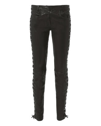 Dent Lace-Up Leather Pants, BLACK, hi-res