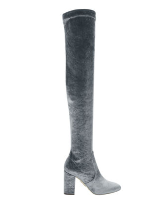 Over-The-Knee Grey Velvet Boots, GREY, hi-res