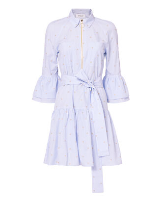 Belted Ruffle Striped Shirtdress, MULTI, hi-res