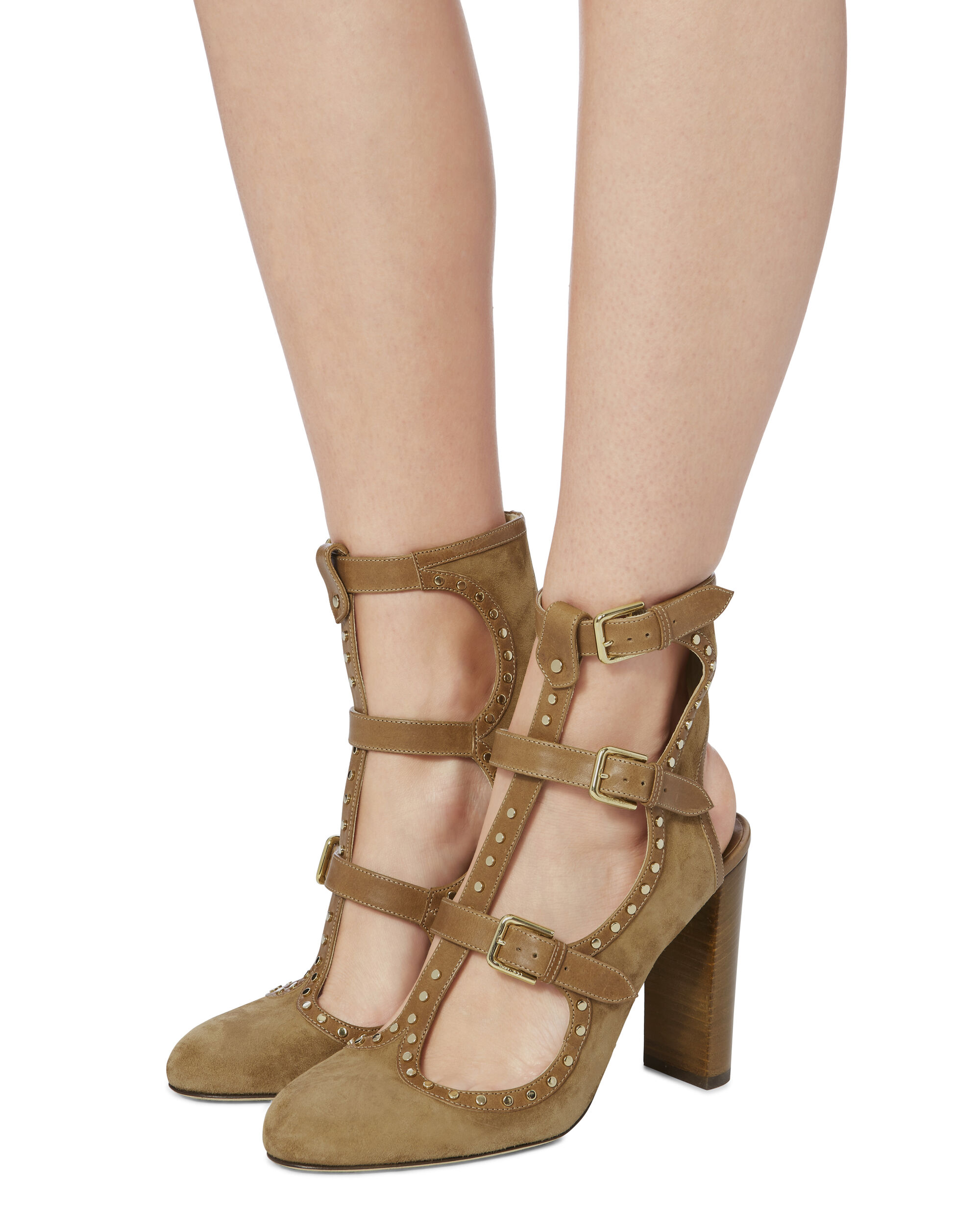 Hensley Studded Suede Multi Buckle Pumps, BROWN, hi-res