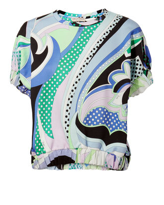 Puff Sleeve Swirl Print Blouse, BLUE-MED, hi-res