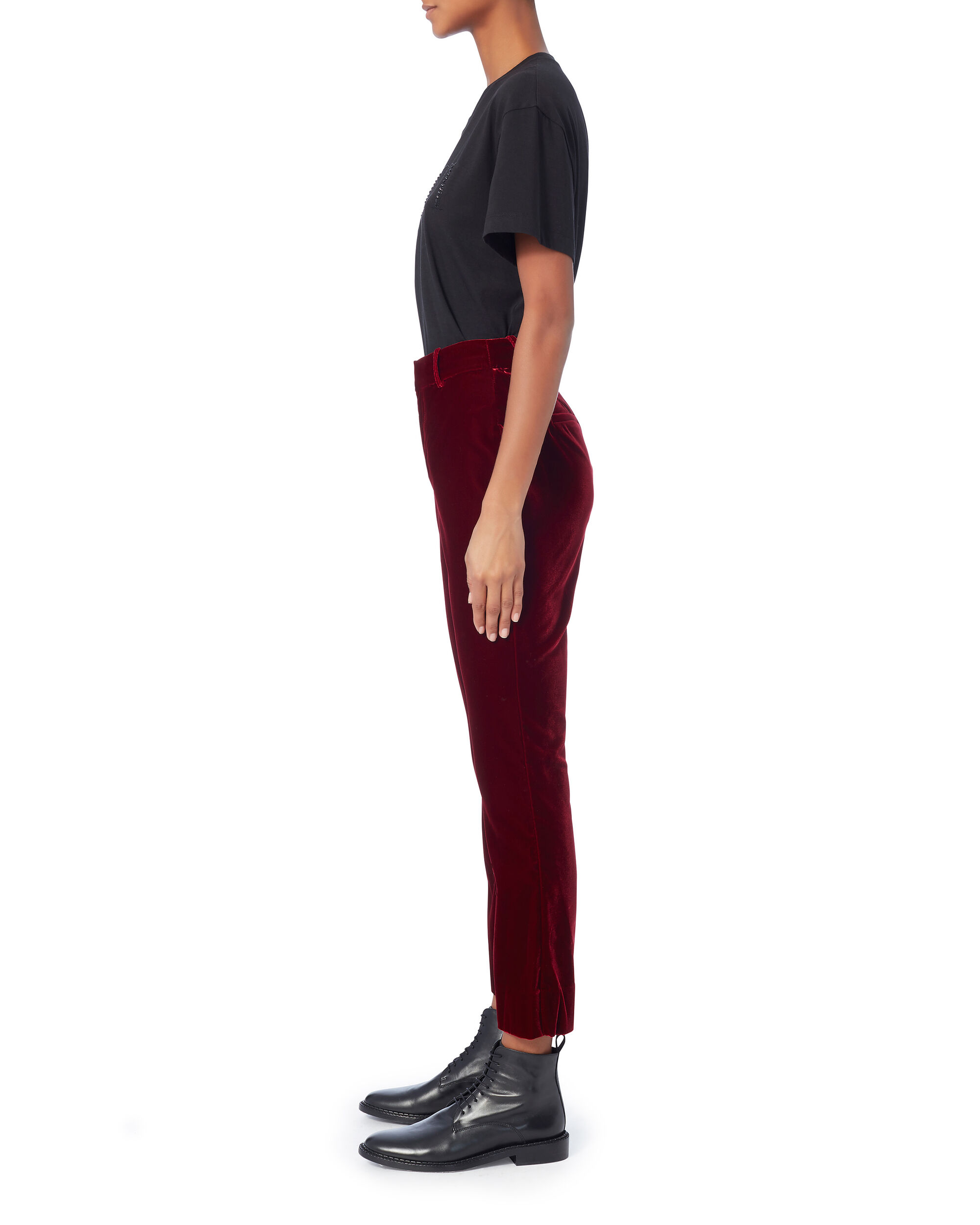 Velvet Crop Flare Trousers, RED, hi-res