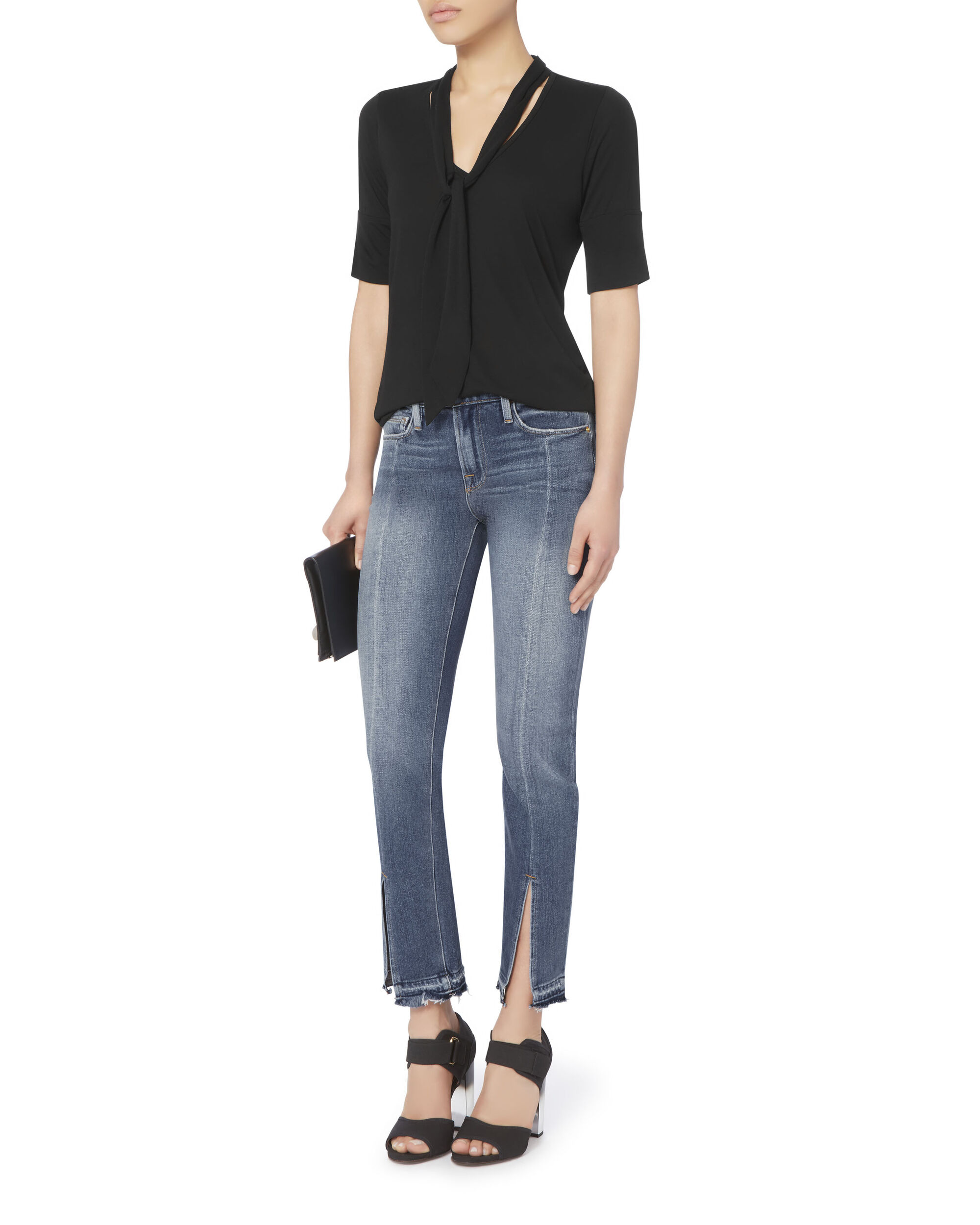 Le Nouveau Crop Split Front Jeans, DENIM, hi-res
