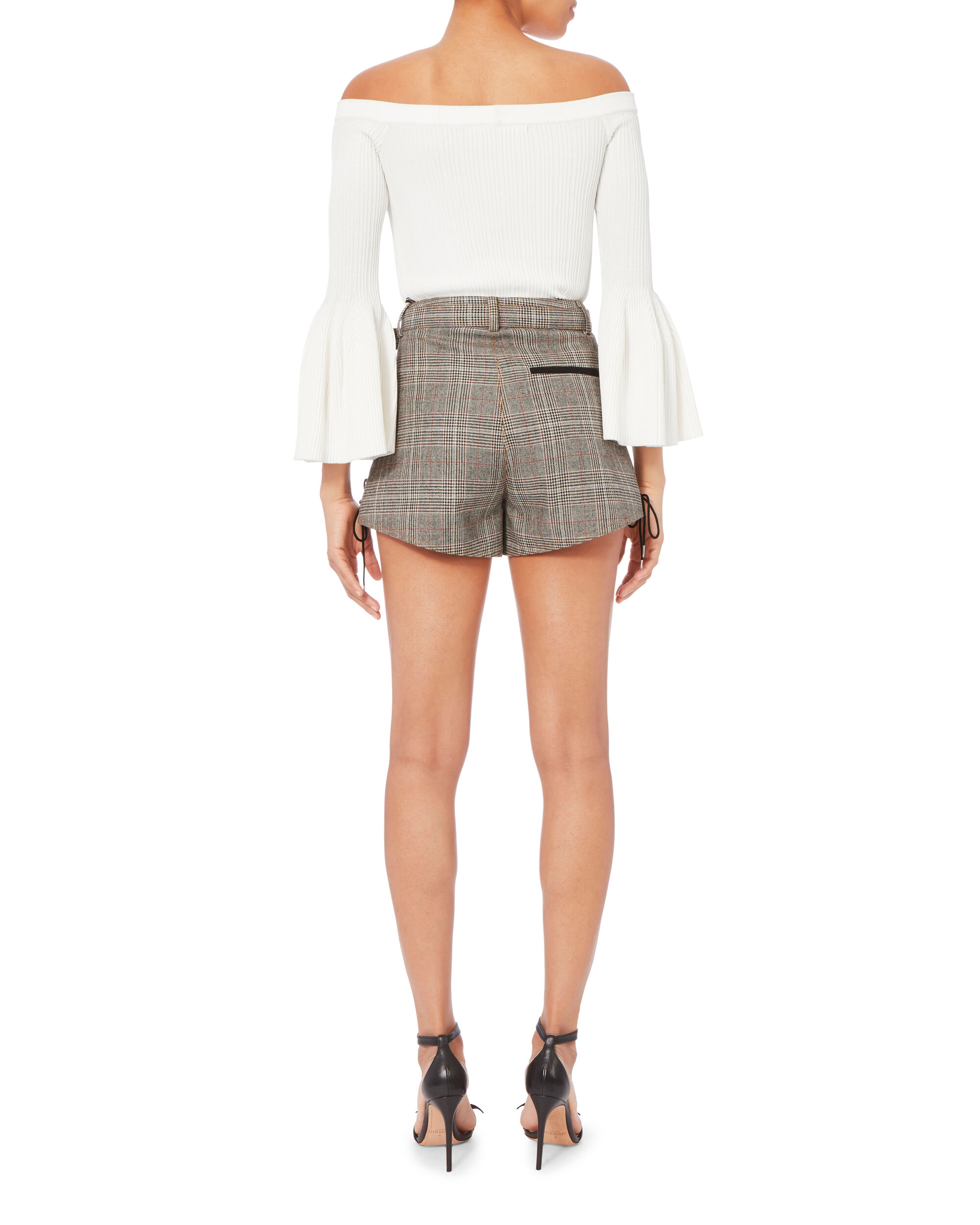 Checked Double Zip Shorts, GREY, hi-res
