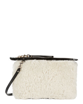 Shearling Mini Pouch Crossbody Bag, BEIGE/KHAKI, hi-res