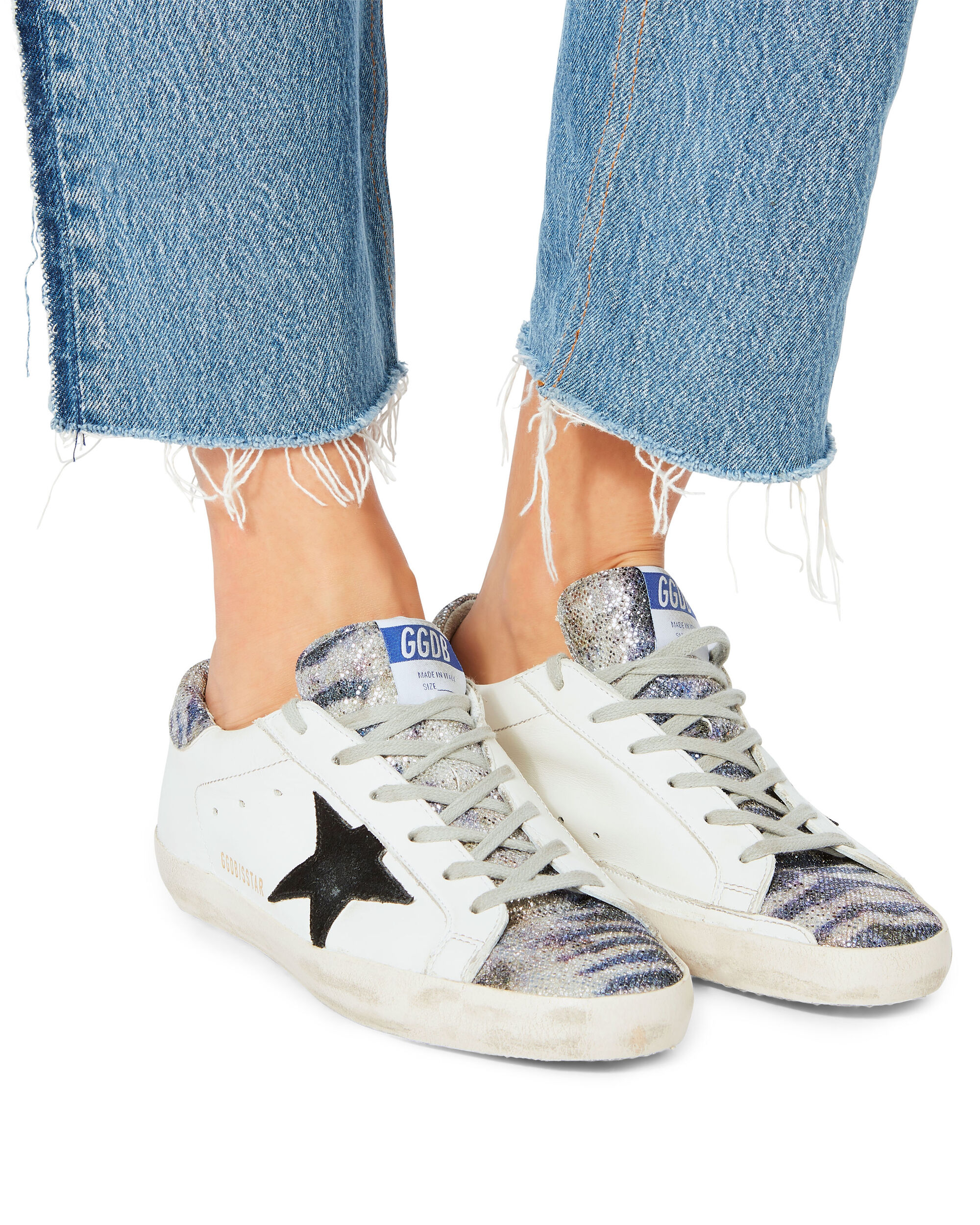 superstar zebra glitter white leather sneakers