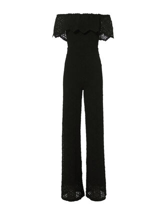 Positano Off Shoulder Lace Jumpsuit, BLACK, hi-res