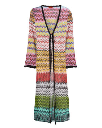 Multicolor Zig Zag Cardigan Duster, MULTI, hi-res