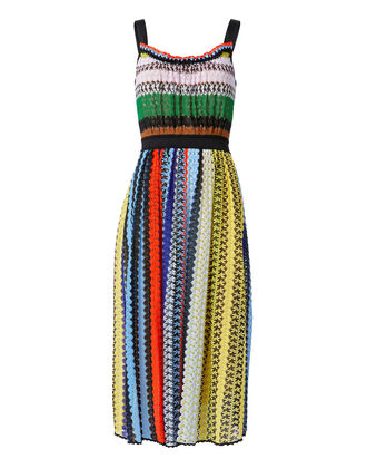Stripe Crochet Midi Dress, MULTI, hi-res