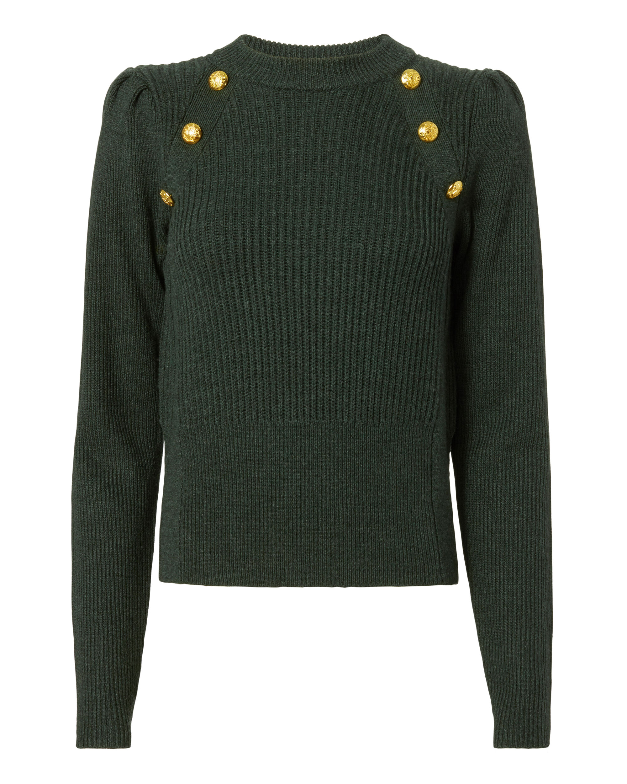 Button Puff Sleeve Sweater, GREEN, hi-res