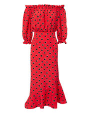 Grace Polka Dot Off Shoulder Dress, RED, hi-res