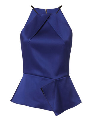 Helme Satin Peplum Top, BLUE, hi-res