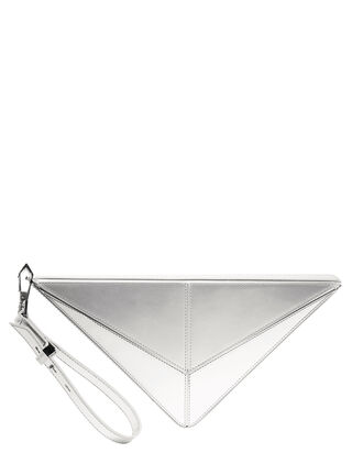 Max Silver Triangle Clutch, SILVER, hi-res