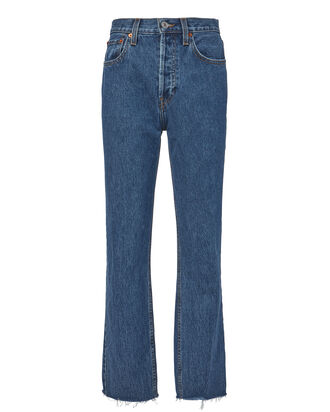 High Rise Rigid Stovepipe Jeans, DENIM, hi-res