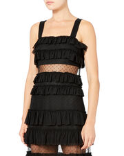 Swiss Dot Ruffled Maxi Dress, BLACK, hi-res