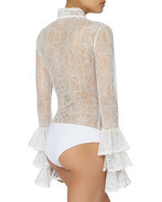 Tier-Sleeved White Lace Bodysuit, WHITE, hi-res