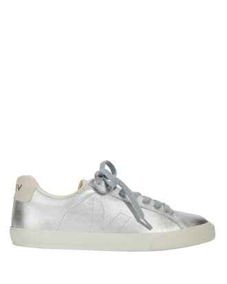 Metallic Silver Leather Sneakers, SILVER, hi-res