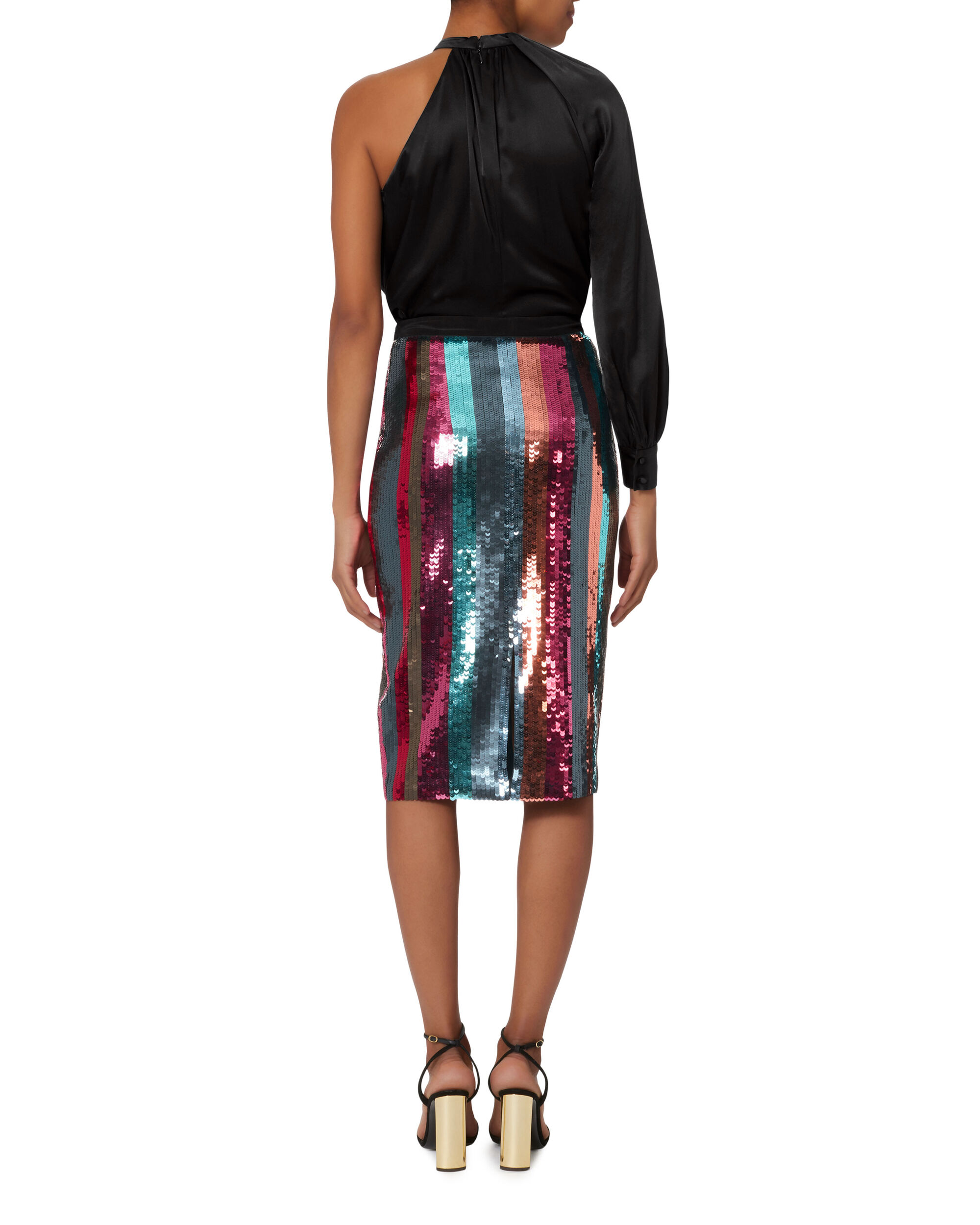 Samia Sequin-Striped Pencil Skirt, MULTI, hi-res