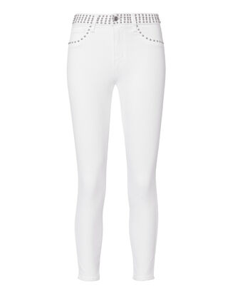 Margot Studded High-Rise Ankle Skinny White Jeans, WHITE, hi-res