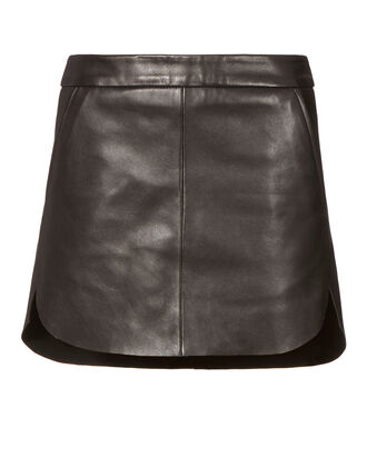 Baseball Hem Leather Mini Skirt, BLACK, hi-res