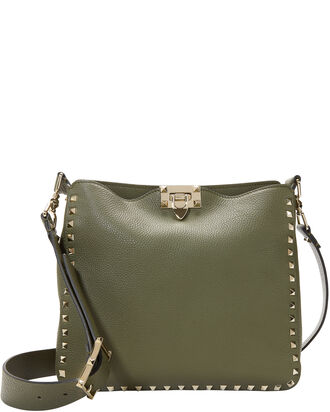 Army Green Rockstud Messenger Bag, GREEN, hi-res