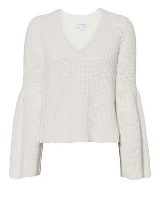 Noelle V-Neck Sweater, WHITE, hi-res