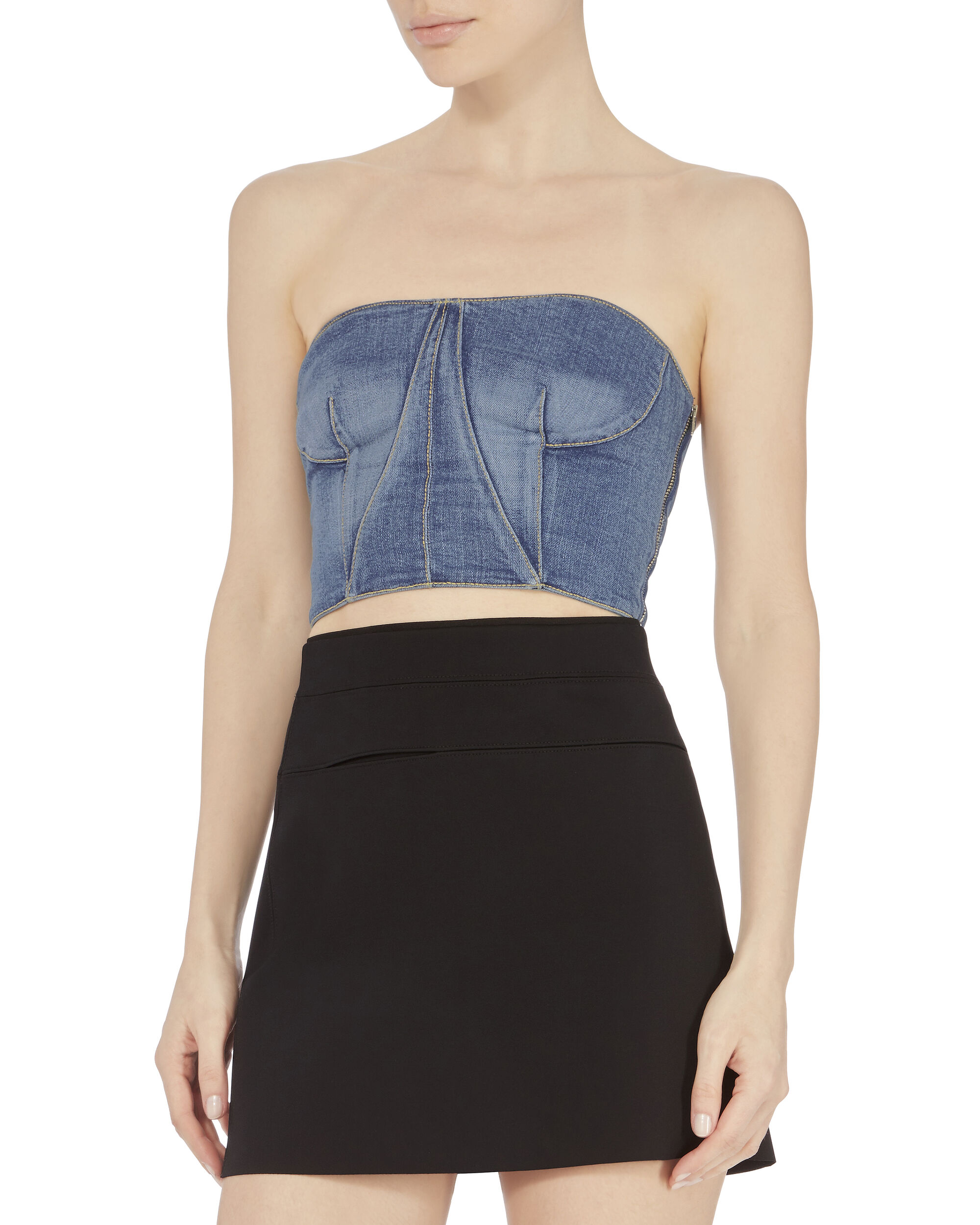 Denim Bustier Top, BLUE-MED, hi-res