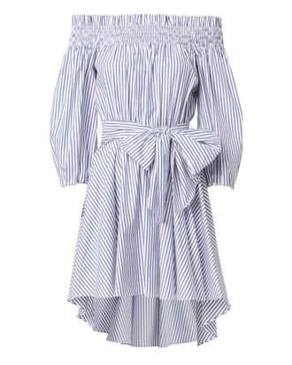 Lou Off Shoulder Striped Dress, BLUE, hi-res