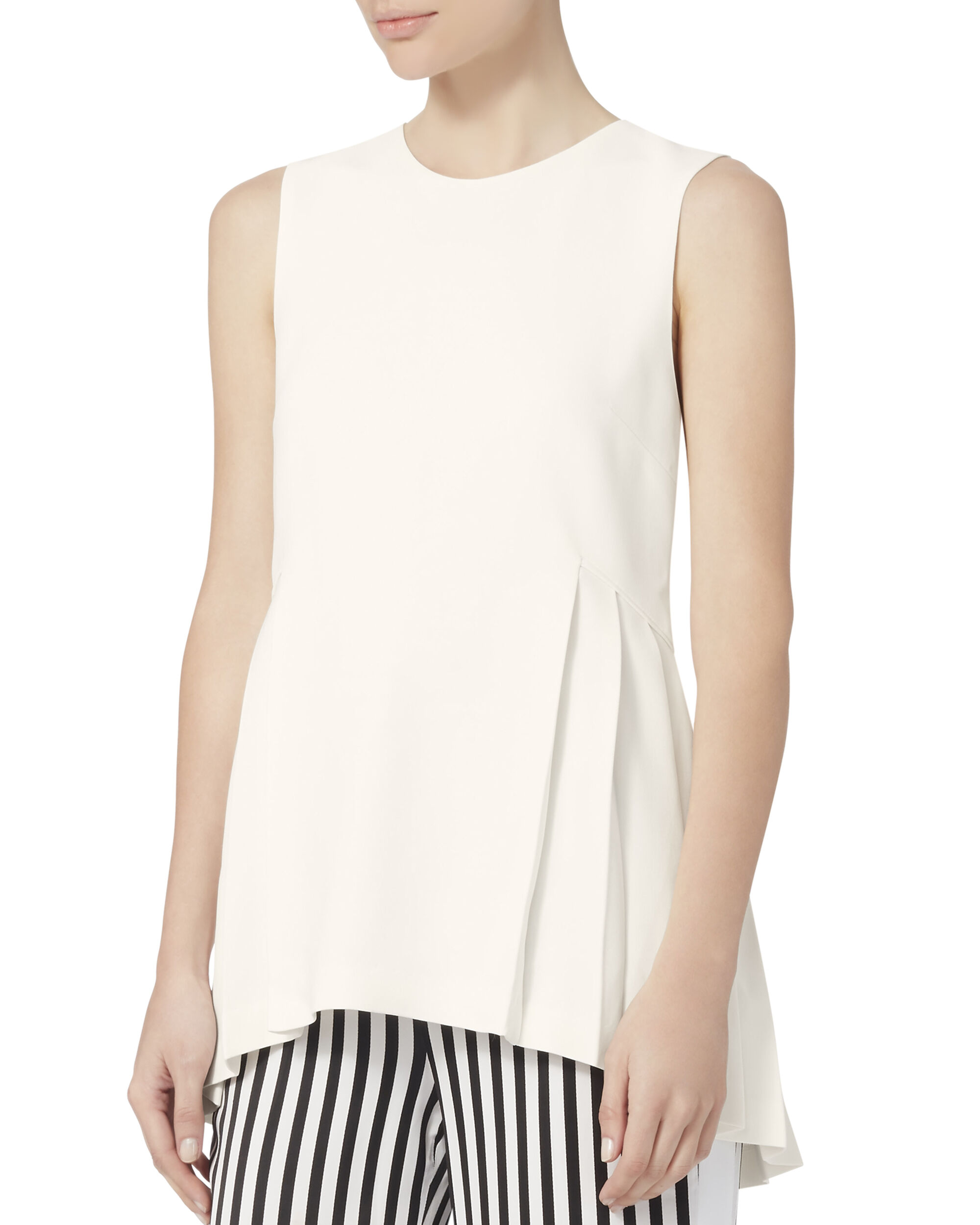 Cady Side Pleat Tunic, WHITE, hi-res