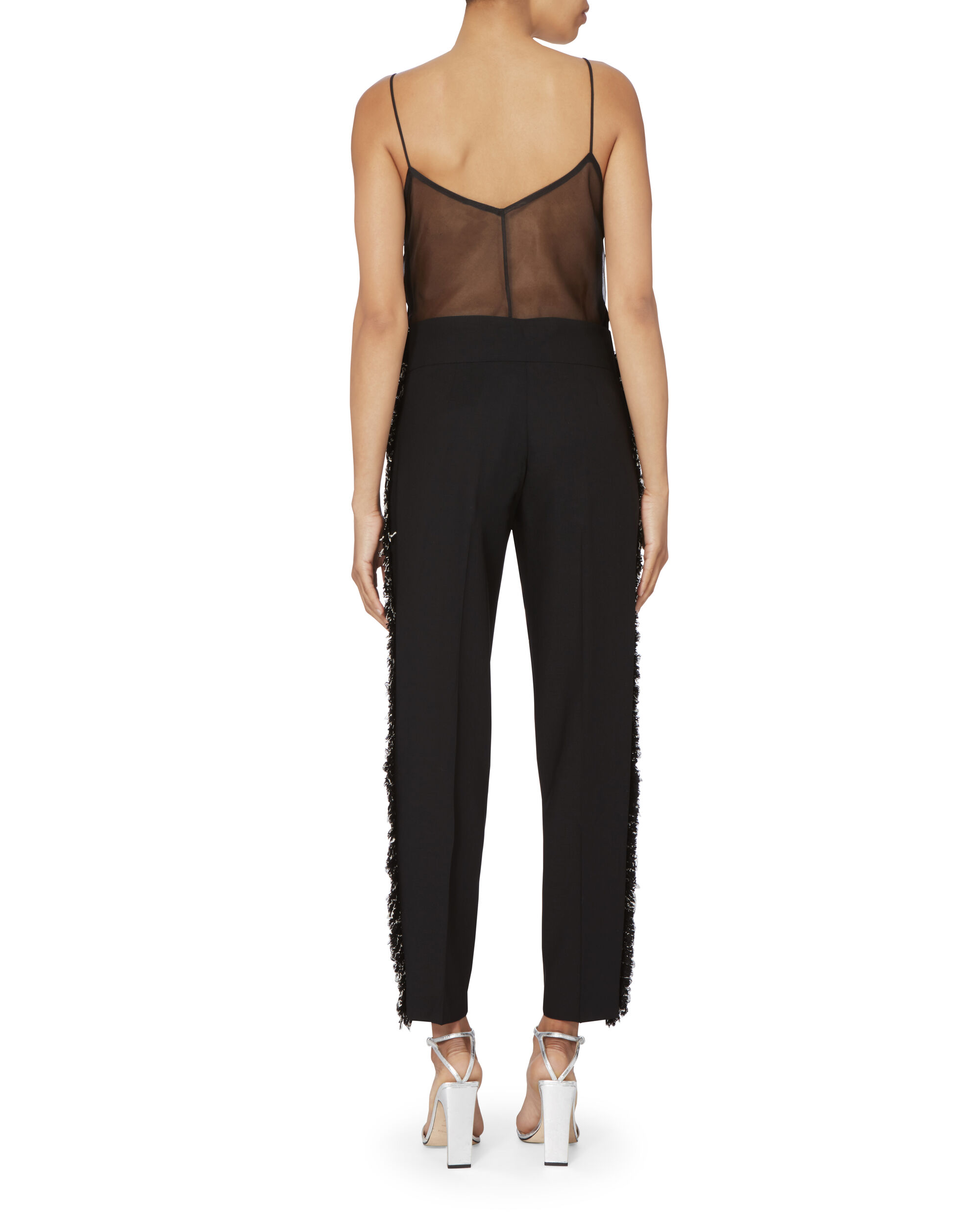 Wool Side Fringe Tapered Pants, BLACK, hi-res