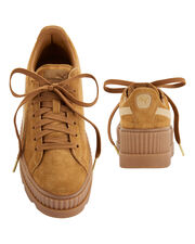 Cleated Brown Suede Creeper Sneakers, METALLIC, hi-res