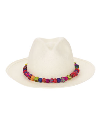 Ayampe Pom-Pom Trim Hat, WHITE, hi-res