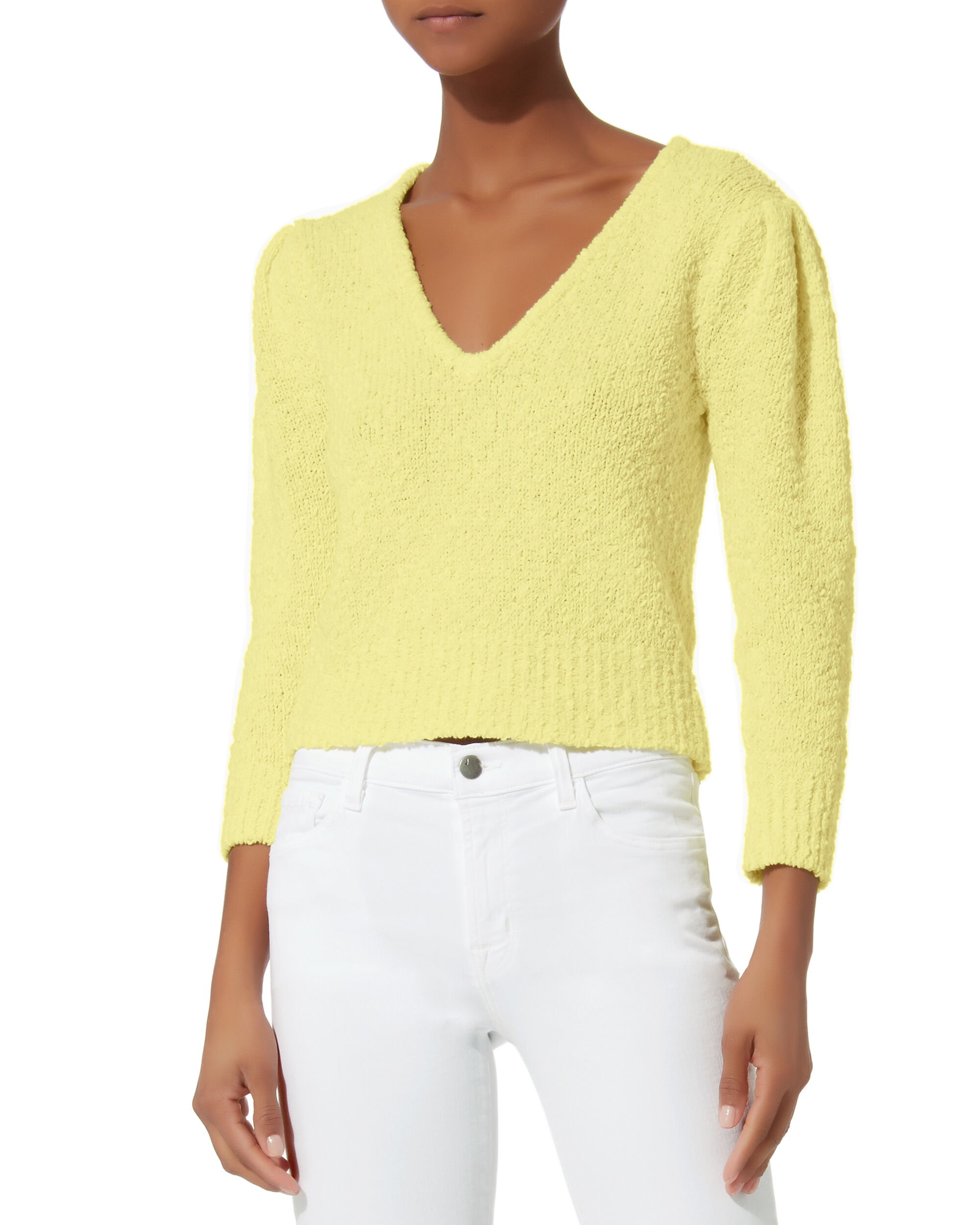 Janice Cropped Sweater, YELLOW, hi-res