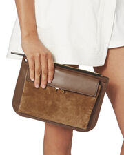 Bandoleer Suede Front Clutch Bag, BROWN, hi-res