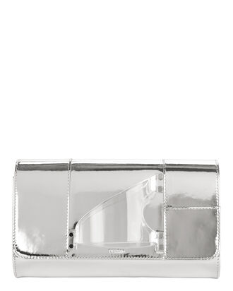L'Eiffel Plexi Handpiece Leather Clutch, METALLIC, hi-res