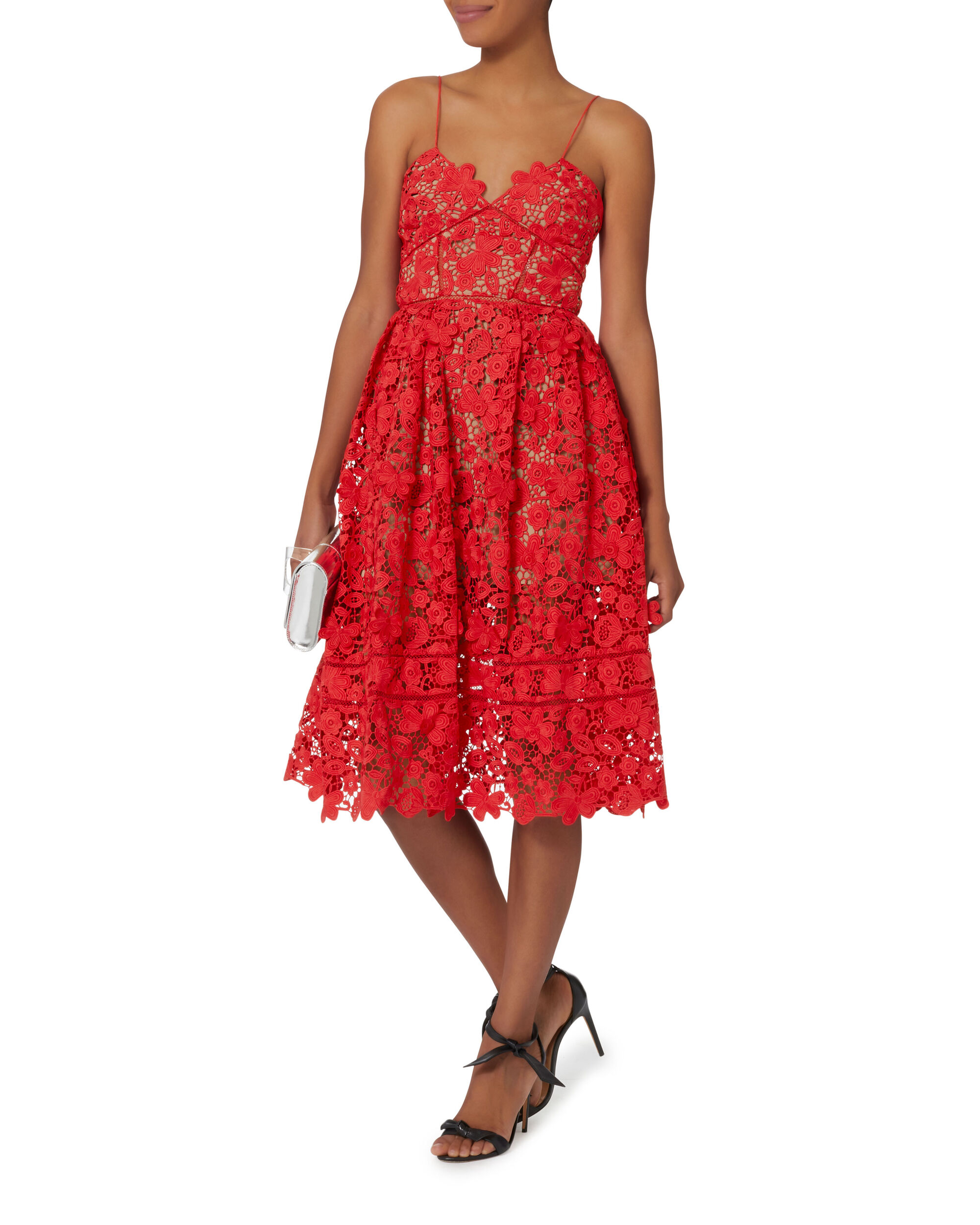 Azaela 3D Floral Red Dress, RED, hi-res