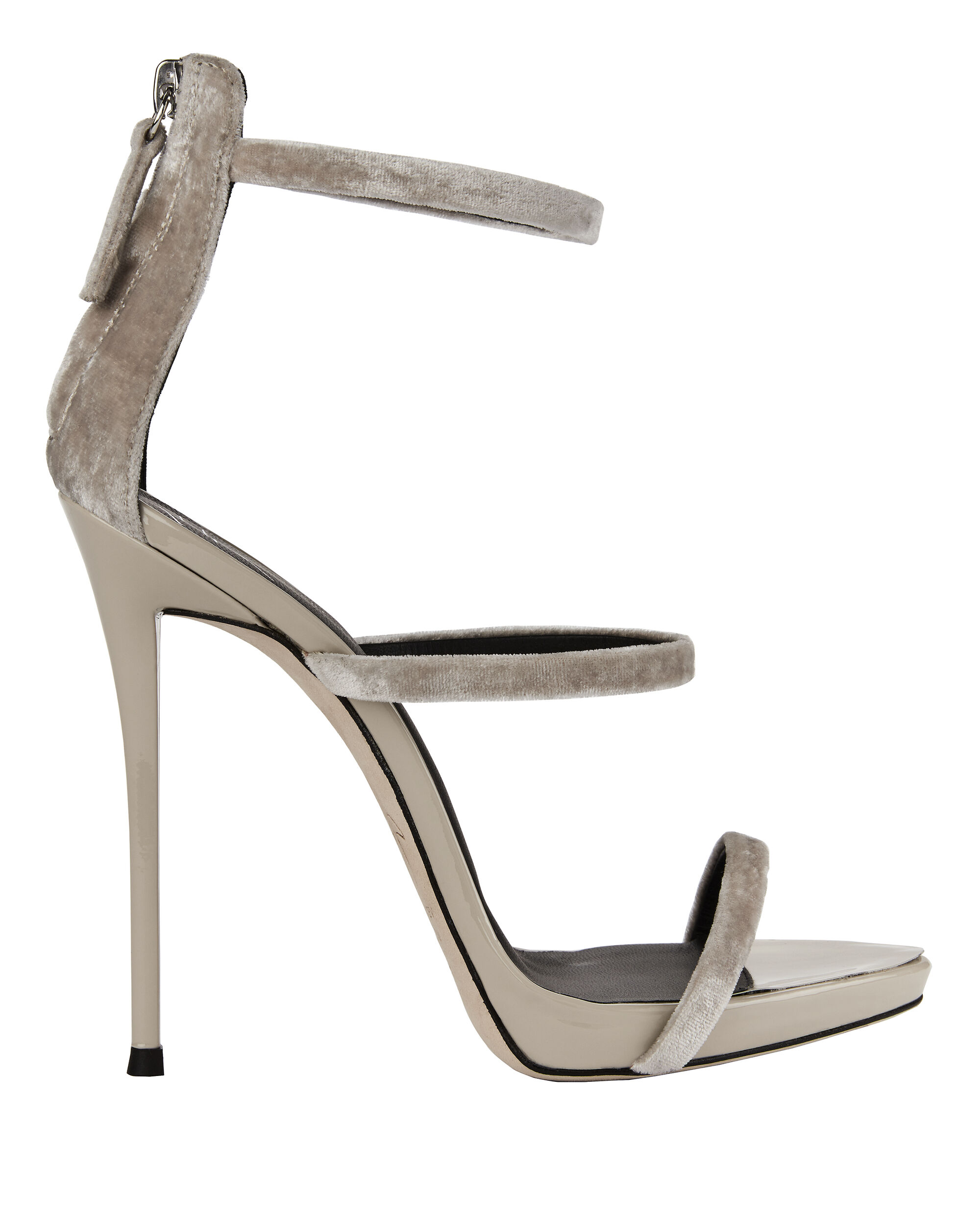 Coline Velvet Strappy Silver Sandals, METALLIC, hi-res
