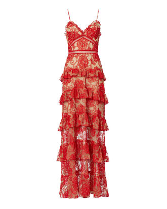 Rosie Lace Tiered Gown, RED, hi-res