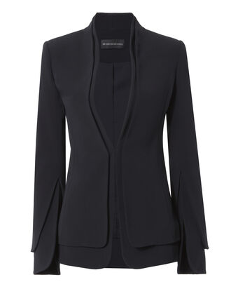 Split Sleeve Crepe Jacket, NAVY, hi-res
