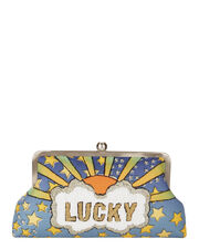 Lucky Blue Clutch, PRINT, hi-res