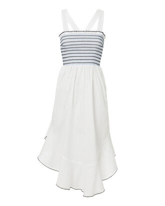 Lia Smocked Dress, WHITE, hi-res