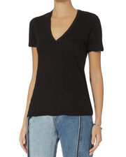 Oversized V-Neck Tee, BLACK, hi-res