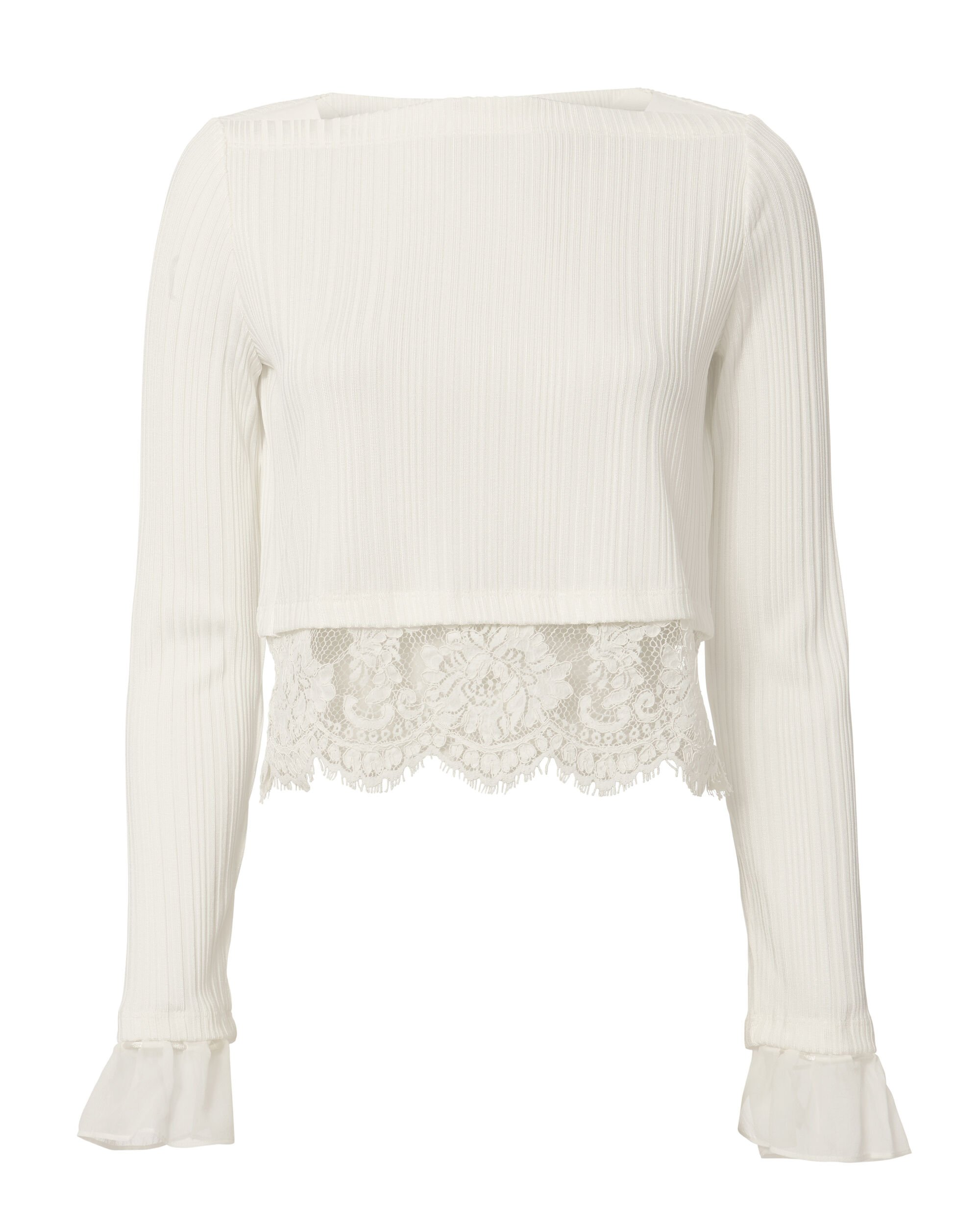 Lace Hem White Ribbed Crop Blouse, WHITE, hi-res