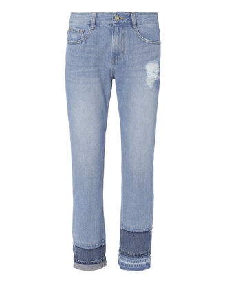 Multi Hem Straight Cropped Jeans, DENIM, hi-res