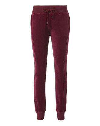 Velour Fitted Jogger Pants, BROWN, hi-res