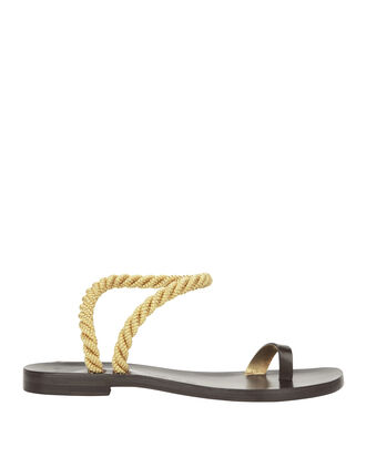 Angela Metallic Rope Flat Sandals, BLACK, hi-res