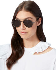 Nude Star Aviator Sunglasses, BLACK, hi-res